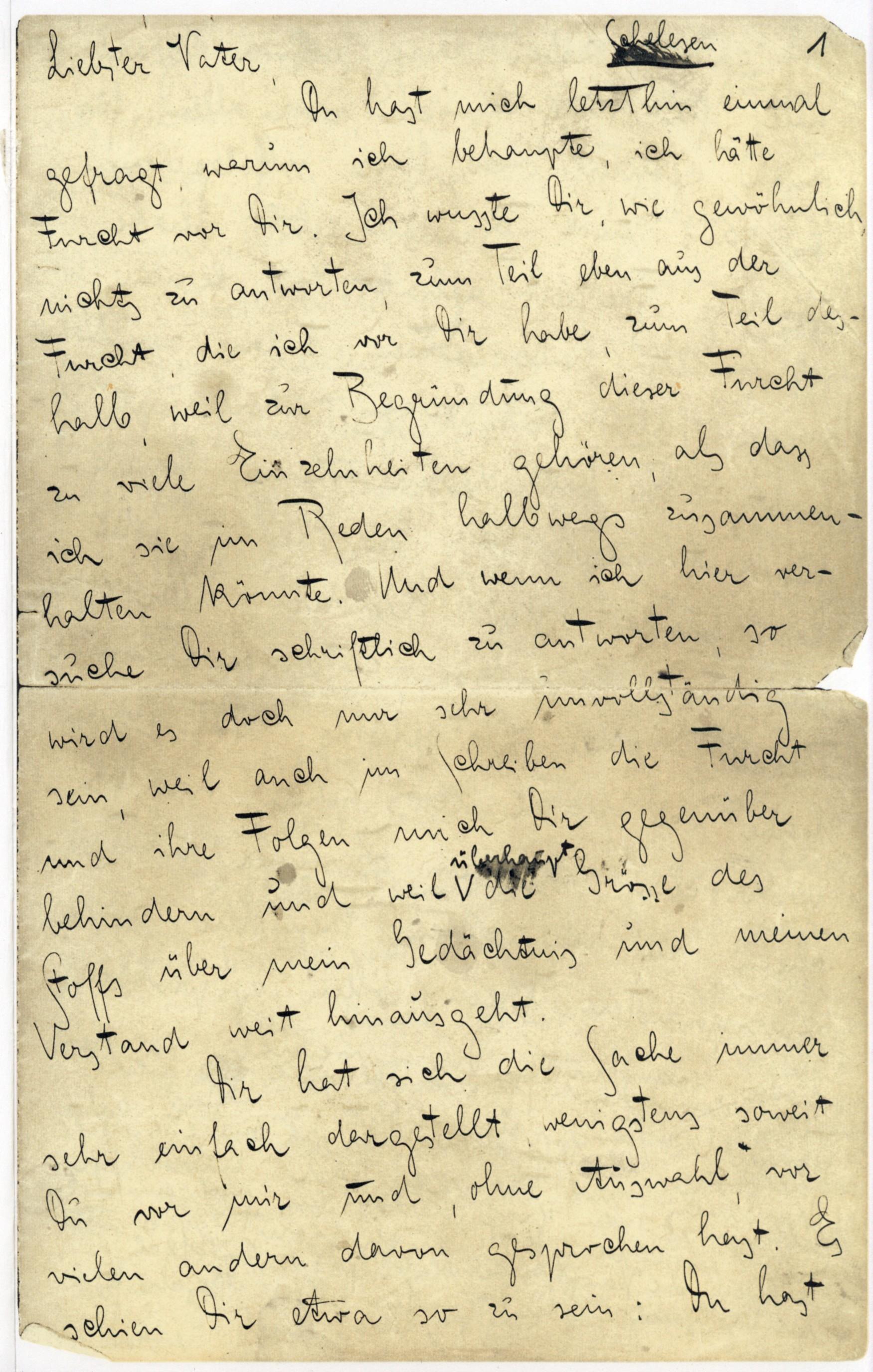 Die erste Seite von Kafkas berühmten 'Brief an den Vater'.